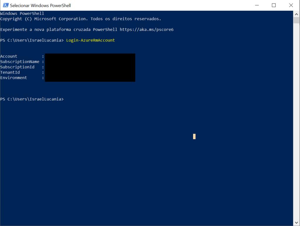 visualizar informações da conta Windows PowerShell