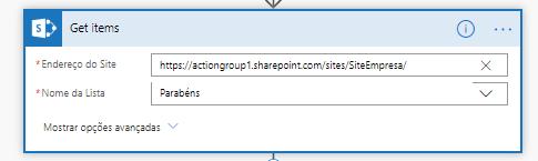 Na imagem, contem uma caixa de texto do Power Automate, com configurações do Microsoft Flow
