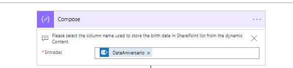 Na imagem, contem uma variável do Power Automate, com informações a respeito da data de Aniversário.